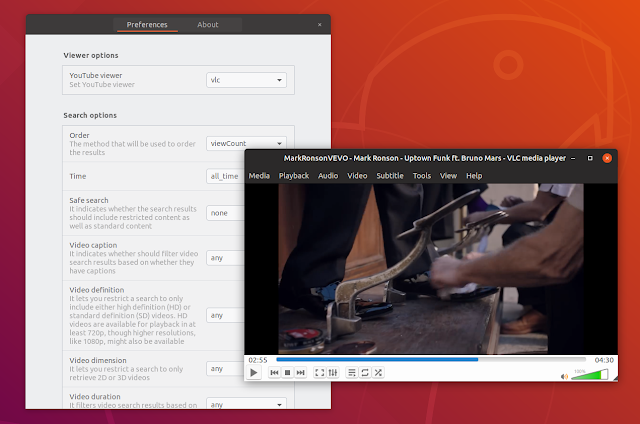 VLC YouTube video Gnome Shell YoUTube search provider