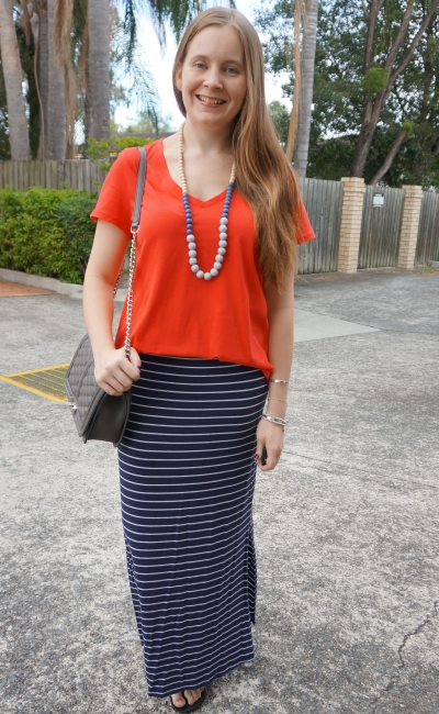 Jeanswest Emily cotton v-neck tee in coral, target navy stripe maxi skirt mum style | awayfromblue
