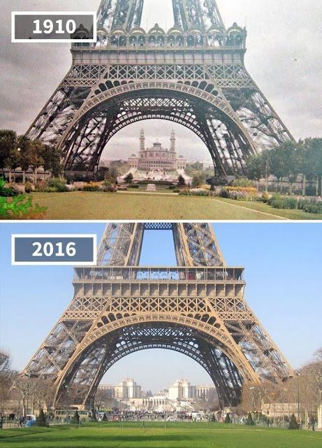 Antes y después de a Torre Eiffel, París