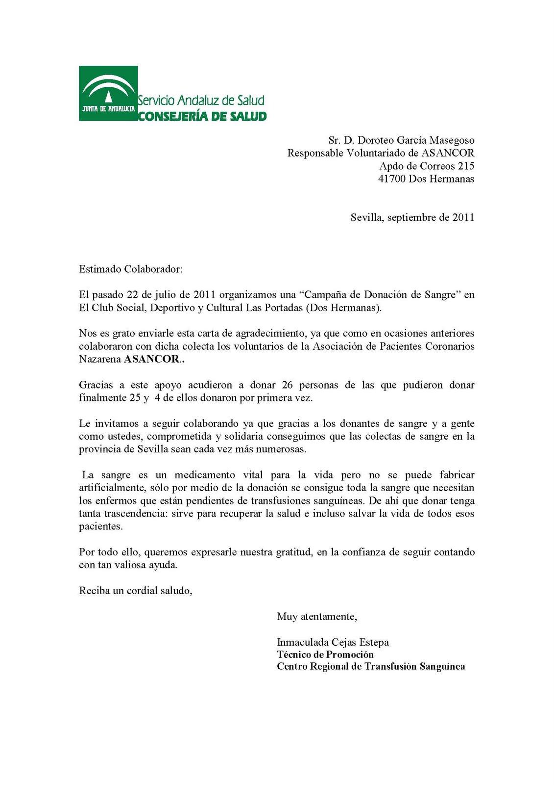 Asociacion De Pacientes Coronarios Nazarena Carta De Agradecimiento