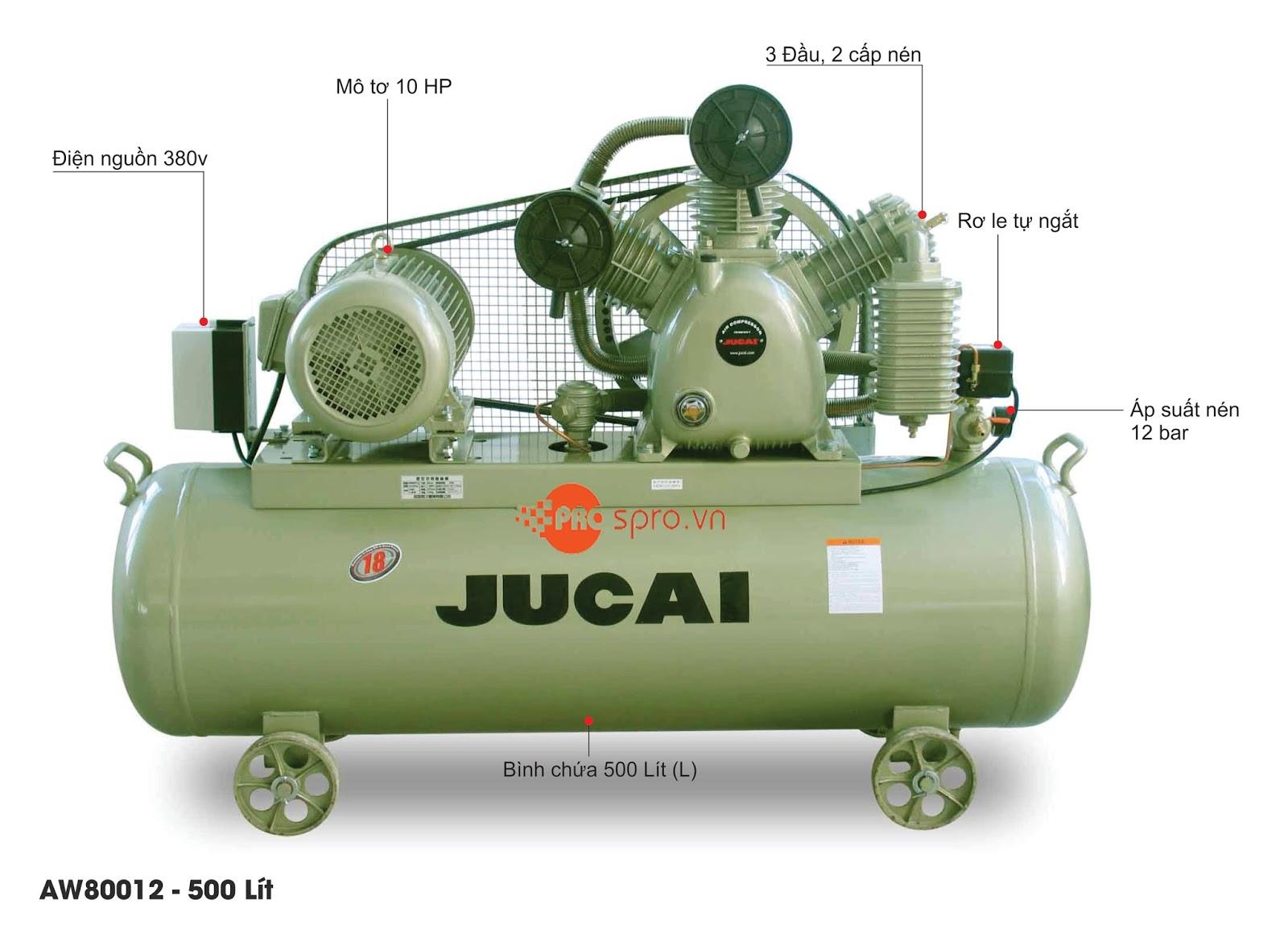 Máy nén khí Jucai 10HP 2 cấp AW80012 - Dung tích bình chứa 500L