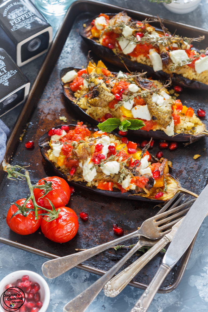 Vegetarian Stuffed Aubergines with Bulgur and Buckwheat