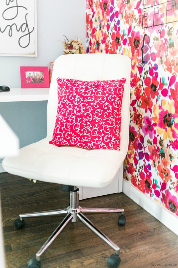 colorful home office with floral fabric
