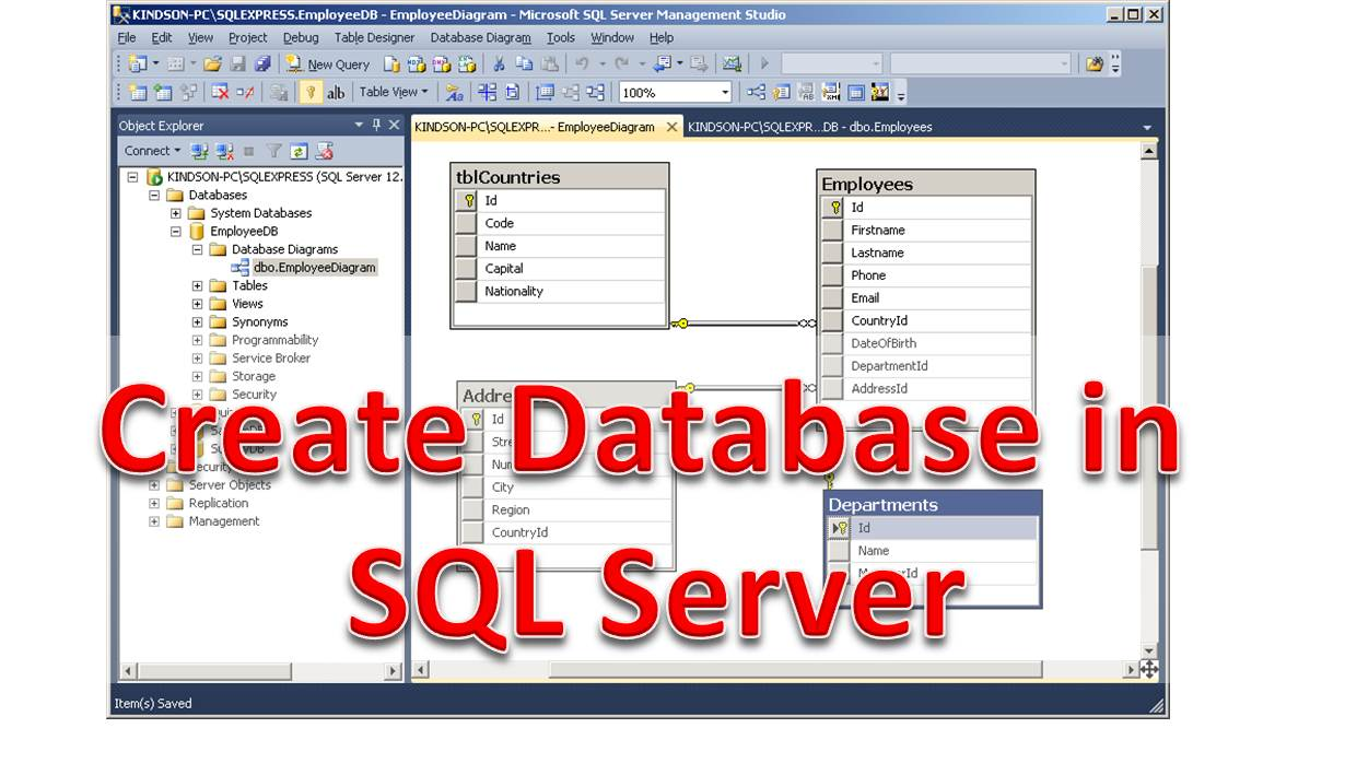 RESTful Web Services Tutorial 5 - Create Employee Database in MS SQL