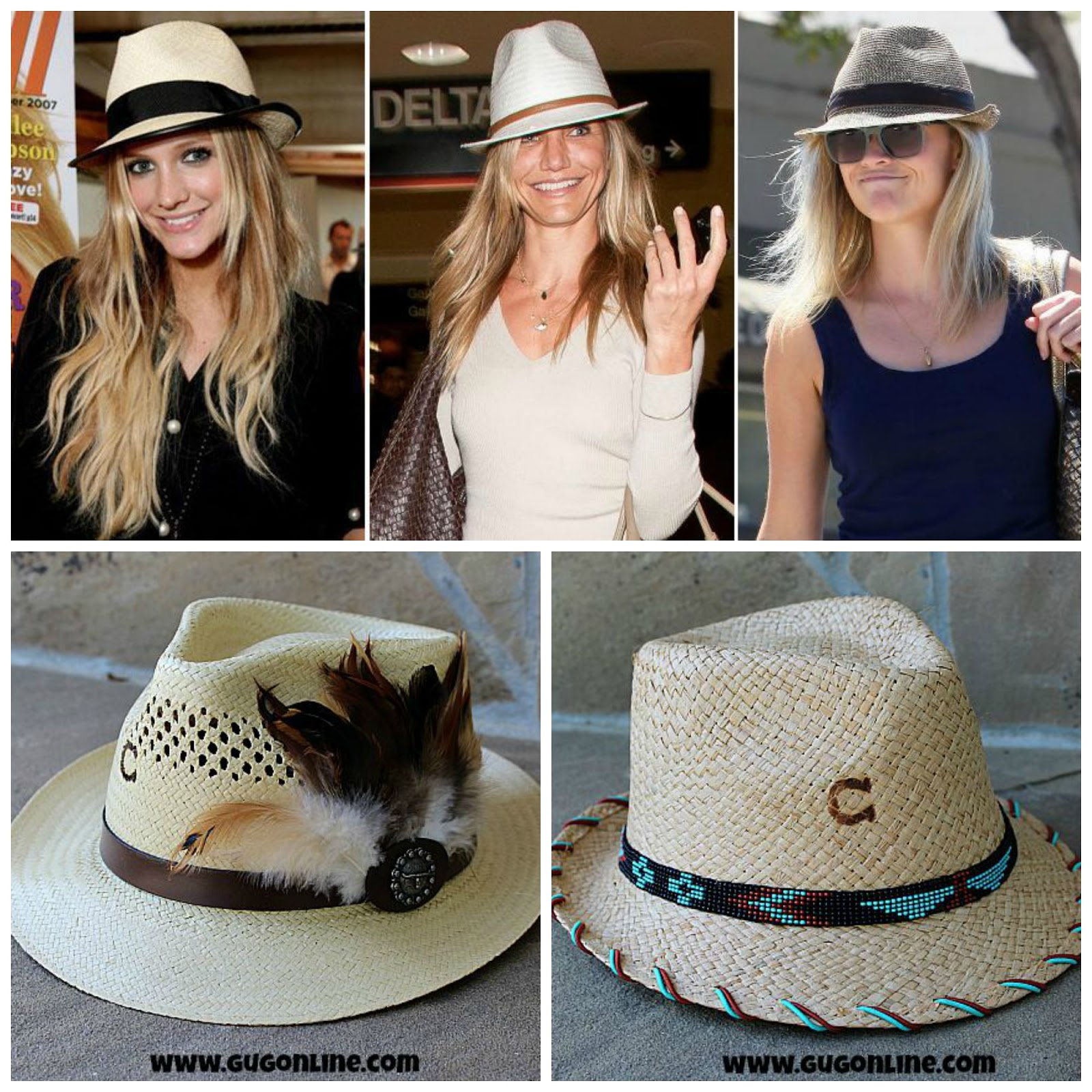 56fc0b1388a9 On the bottom, are Giddy Up Glamour's stylish fedoras. These particular  hats are more of a summer look hat, but Giddy Up also has fedoras suitable  for your ...