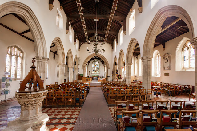 Interior of Oxfordshire Cotswolds village of Eynsham St Leonard's church by Martyn Ferry Photography