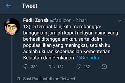 Sleding Tackle ala Ibu Susi Pujiastuti Untuk Fadli Zon