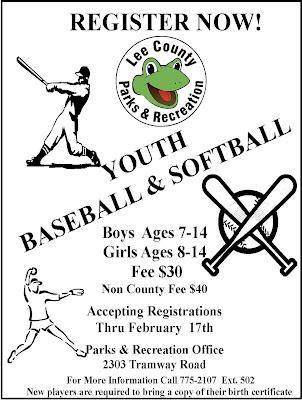 Lee County Government: Youth Baseball & Softball