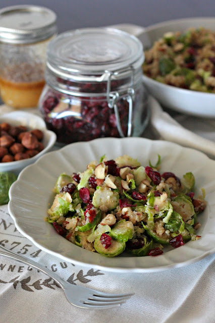 brussels sprouts cranberry quinoa salad