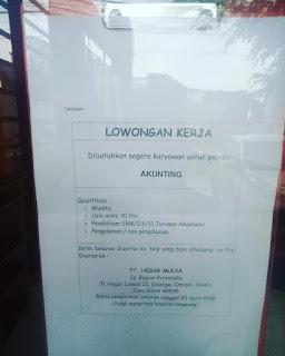 Lowongan Kerja PT Hegar Mulya Cibaligo Cimahi Cimindi 2020