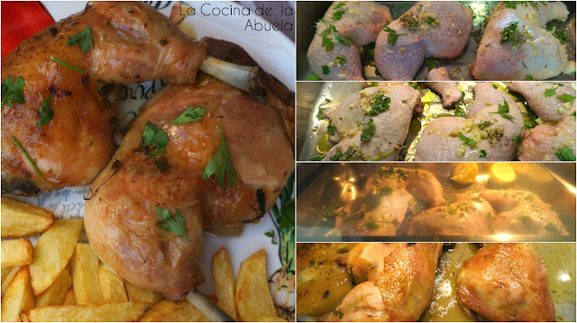 Pollo asado salsa limón vino blanco receta pasos