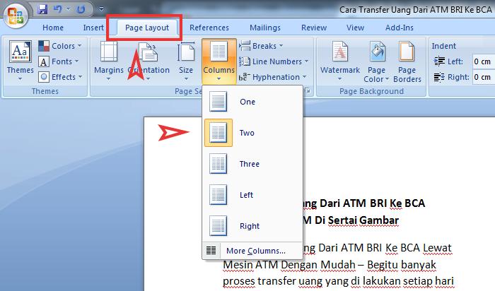 Cara Membagi Satu Lembar Kerja MS Word Menjadi Dua Bagian