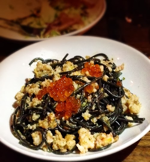 long, thin pasta with ground shrimp and caviar