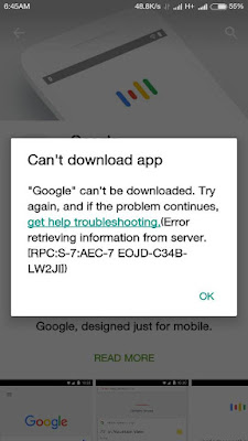 Can't download app, 'Google' can't be downloaded. Try again, and if the problem continues, get help troubleshooting