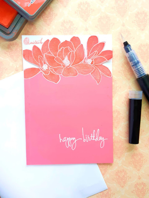 Altenew, CAS card, distress oxide ink, water colouring, heat embossing, floral card, Card for her, Birthday card, Quillish, cards by Ishani, Altenew AMgnolia stamp card, Monochromatic card, monochrome card, pretty card, fussy cut card, easy card, easy handmade cards, Magnolias for you