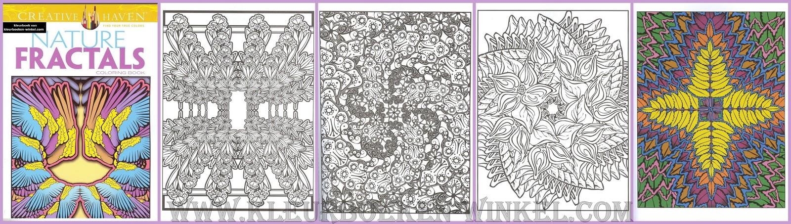 kleurboek bloemen, nature fractals