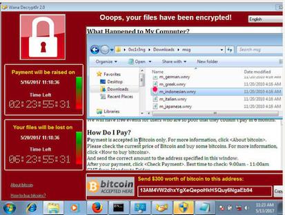 Tampilan Virus Wannacry