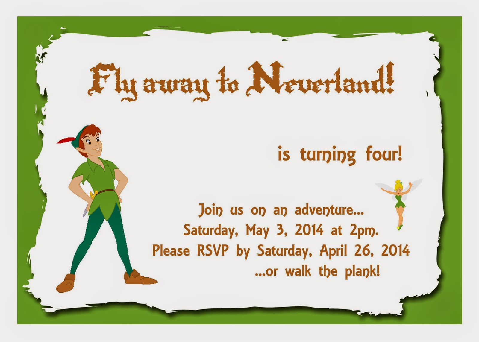 Mom 39 s tot school peter pan party for Peter pan invitation template