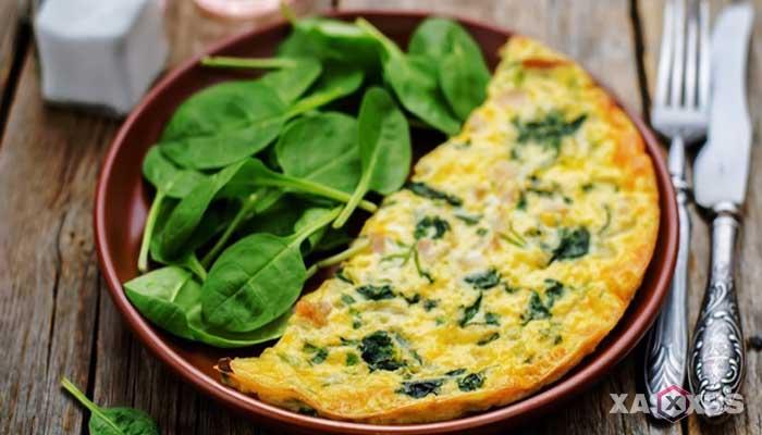 Resep cara membuat omelet bayam jagung