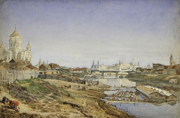 Nikolai Egorovich Makovsky (1841-1886) - A view of the Cathedral of Christ the savior, the Stone bridge and the Kremlin from the Moskva river embankment, 1860s. | State Historical Museum collection | watercolors, artworks, art pictures | iconoCero