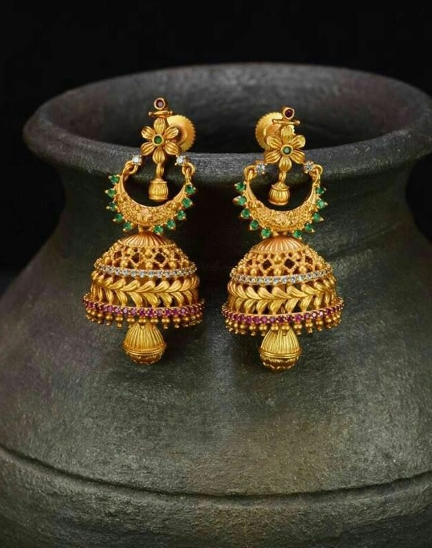 Ilmu Pengetahuan 3 New Gold Earrings Jhumka Design