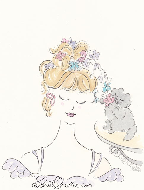 Butterflies fashion and fluffballs kitty illustration © Shell-Sherree
