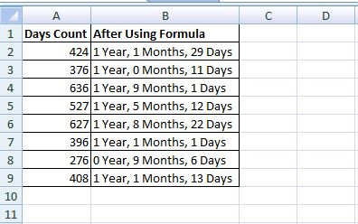 Convert Days Counts In To Year Months
