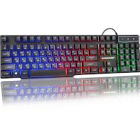 SUNROSE computadora retroiluminación teclado USB personaje Teclado Gamer flotante 3 Color LED retroiluminada