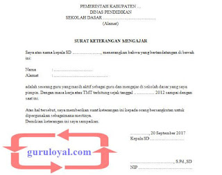 surat keterangan mengajar dari kepala sekolah untuk guru