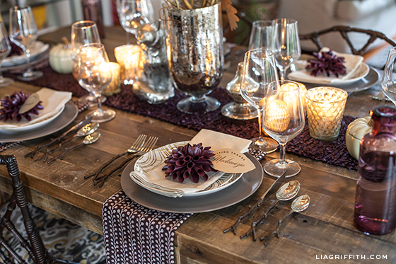 Thanksgiving Table with Purple Accents from Lia Griffith