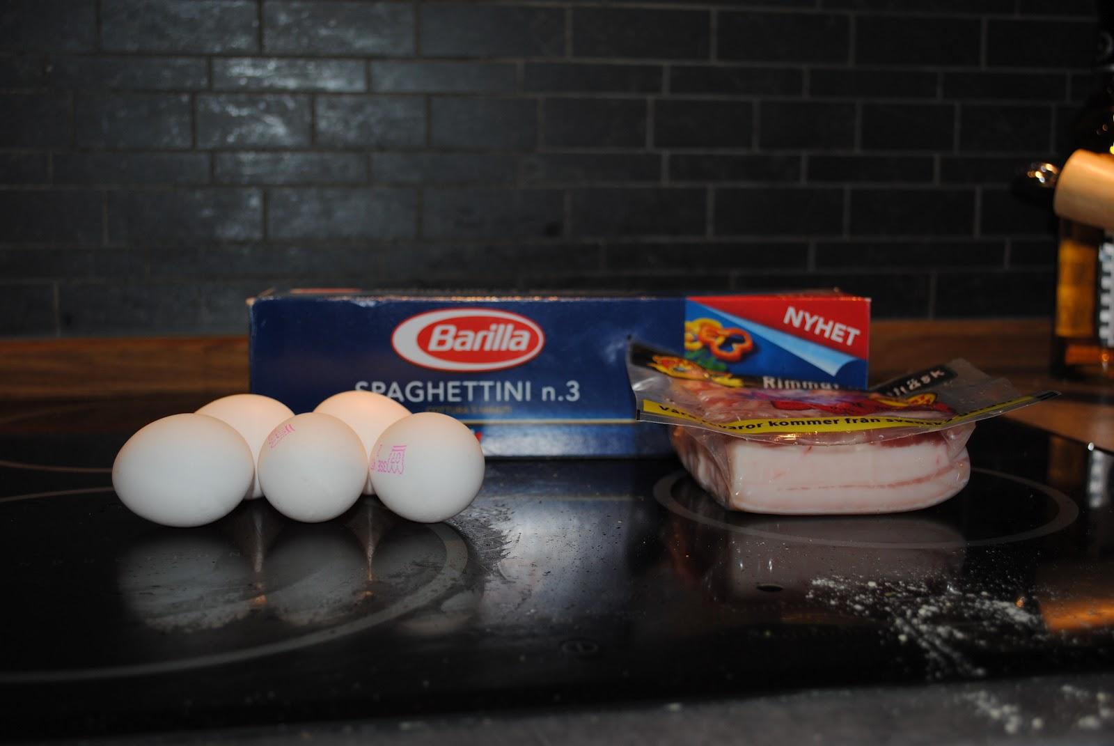 carbonara med grädde och ägg