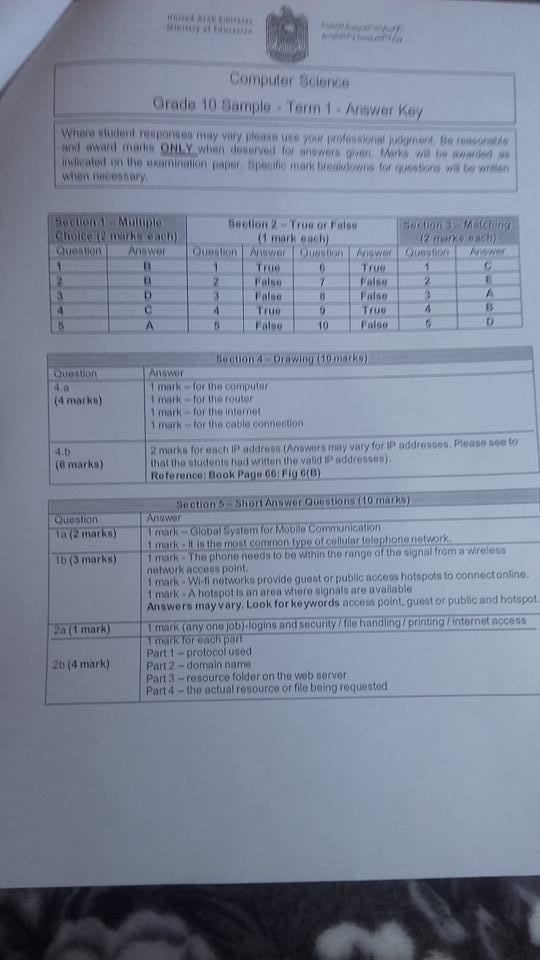 نموذج اجابة امتحان الكمبيوتر للصف العاشر الفصل الأول