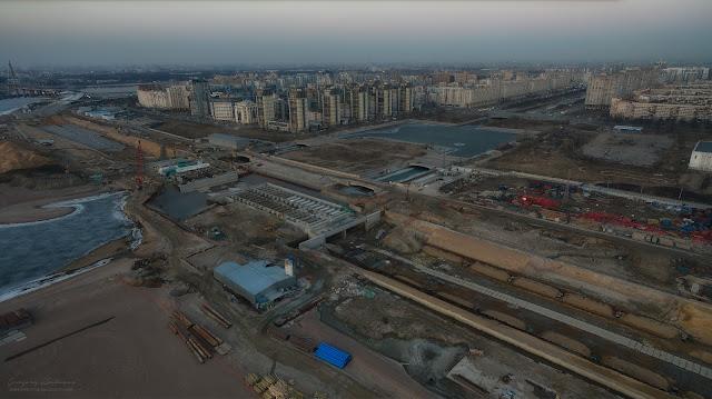 Репортаж строительства Западного Скоростного Диаметра (ЗСД) в Санкт-Петербурге. Съемки с воздуха