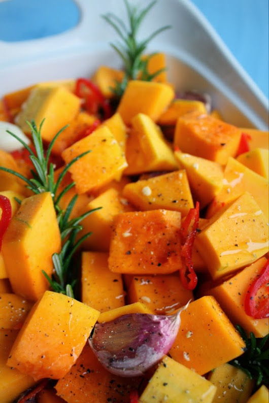 Roast Butternut Squash with Chilli, Rosemary and Garlic.