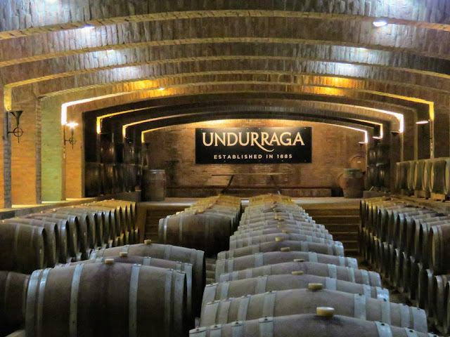 Day trips from Santiago Chile: visiting the barrel room at Underraga Winery