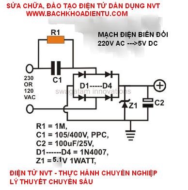 mạch nguồn 5V không sử dụng biến áp