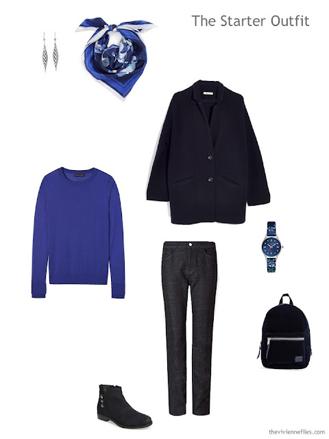 a starter outfit in navy and bright blue