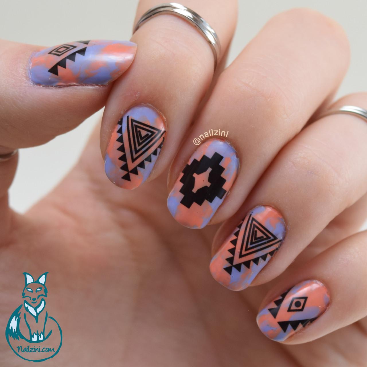 Nailzini A Nail Art Blog: Dry Marble Tribal Nail Art -- Born Pretty Store Review