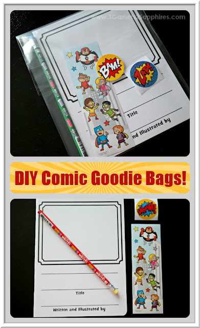 DIY Comic Book Activity Goodie Bags - Great for classrooms  |  www.3Garnets2Sapphires.com