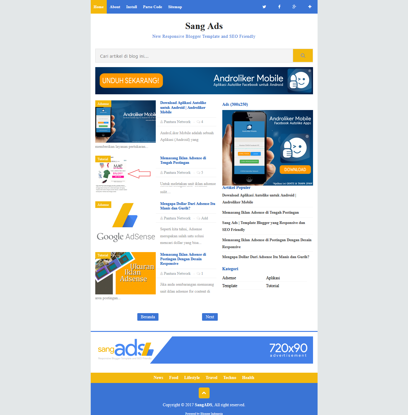 Sang Ads High Ctr Responsive Blogger Template