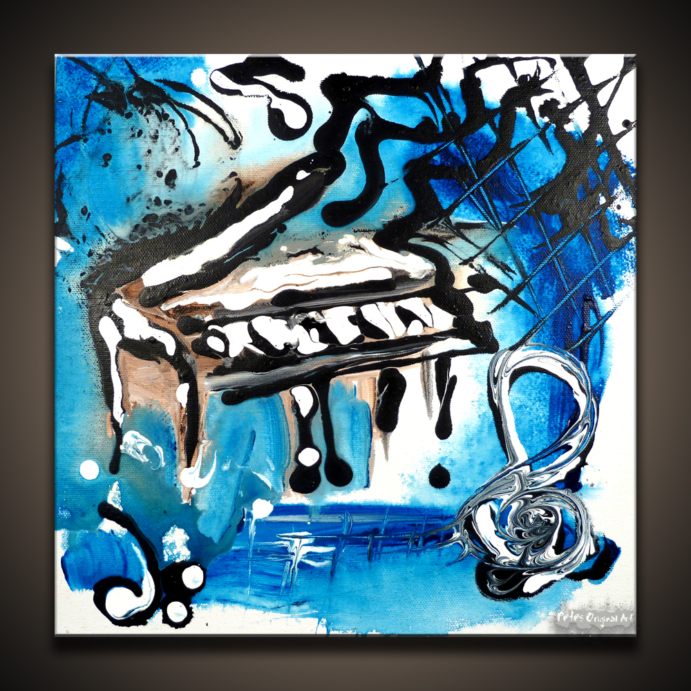 Music Abstract Art Painting Of A Piano By Peter Dranitsin Called Creative Process 12x12 Canvas Acrylics