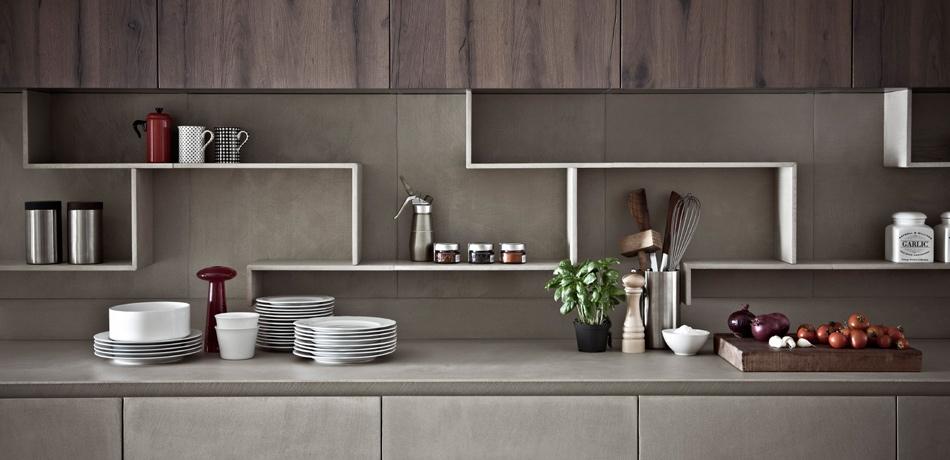 Cocinas con frentes de resina de cemento nicas e