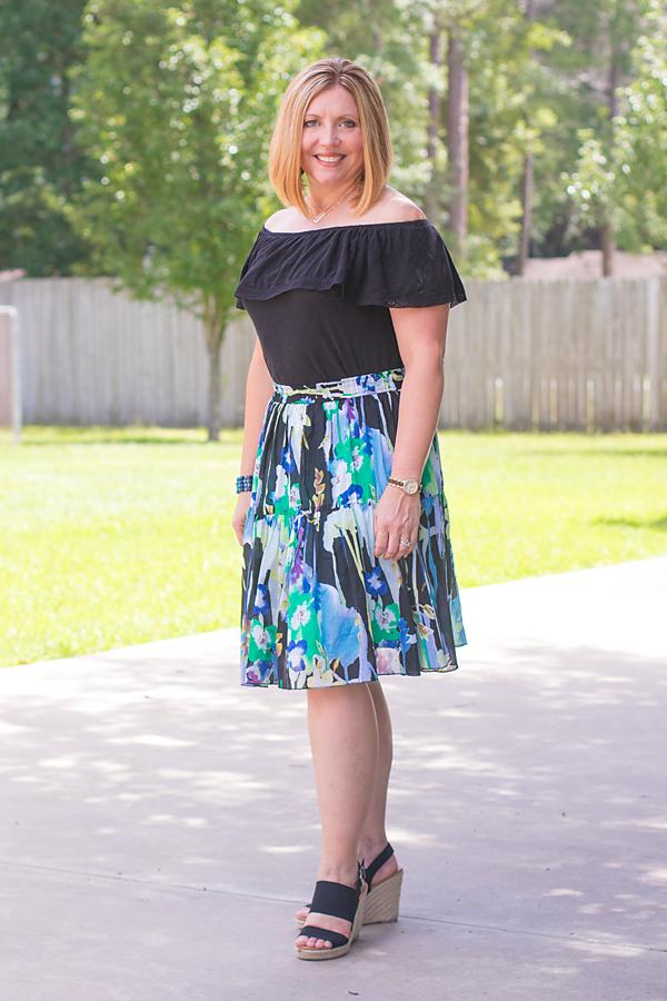 off shoulder top, floral skirt, skirt outfit, black wedges