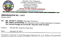 Revised Mt. Ulap Entrance Fees effective on January 21, 2017
