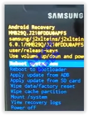Android System Recovery - Samsung Galaxy J2 Pro (2016)
