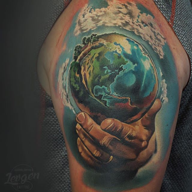color ink earth tattoo
