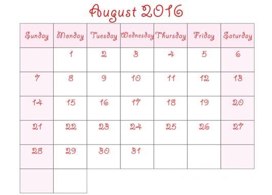 August 2016 Blank Printable Calendar