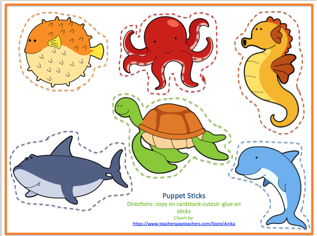 Simplicity image with printable sea animals