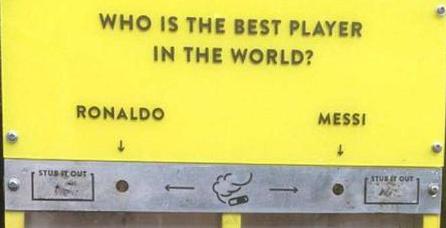 Messi y Ronaldo ayudan a limpiar Londres de colillas
